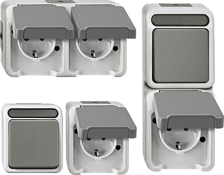 elektro27 e27aufputz schalter steckdosen set 30 teilig. Black Bedroom Furniture Sets. Home Design Ideas